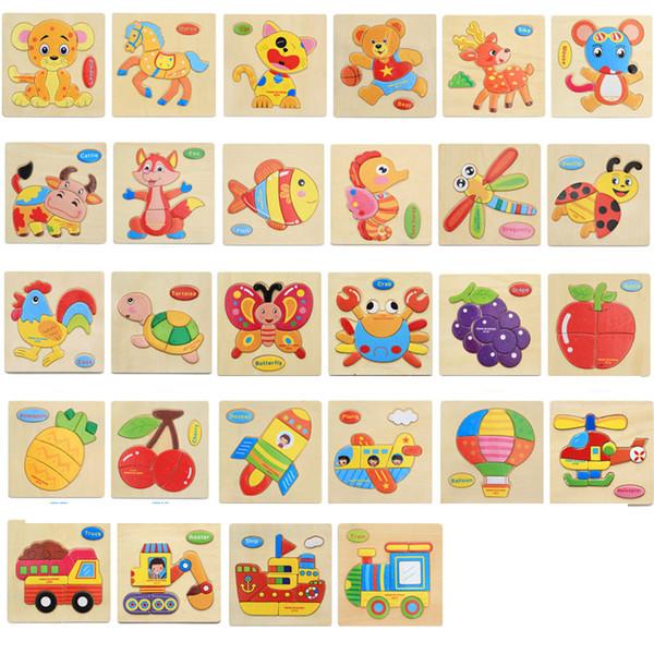 Niños Puzzles 3D Juguetes de madera Rompecabezas Niños Dibujos animados Animal divertido Puzzles Inteligencia Niños Educación temprana Juguetes de capacitación FFA2213