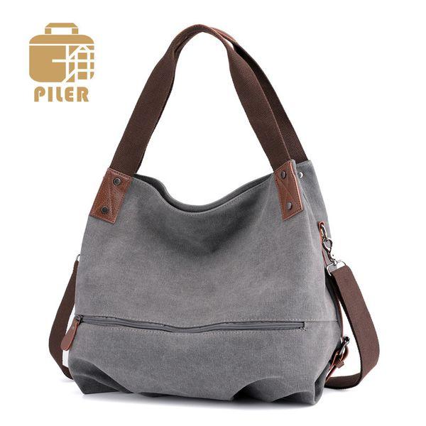 Large Tote Canvas Leather Vintage Bag Women Canvas Hobo Bag Shoulder Womans Leather Handbag Fur Bags Cute Ladies Shoulder Bag Y19061803