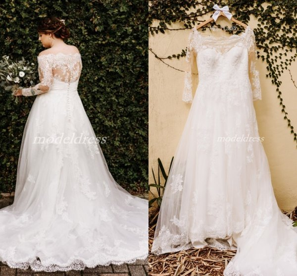 Plus Size Country Wedding Dresses 2019 Off Shoulder Long Sleeve Illusion Bodice Sweep Train Appliques Garden Bridal Gowns robe de mariee