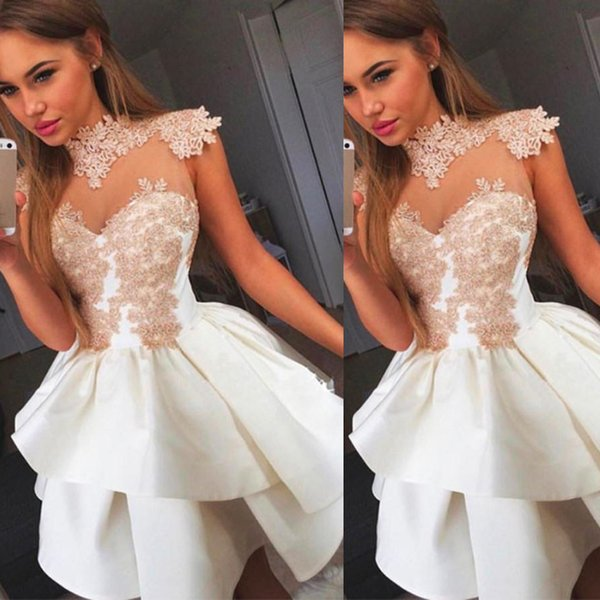 1b3ecb676498 Short White Ball Gown Homecoming Dresses With Champagne Lace Appliques High  Neck Tight Illusion Bodice Mini