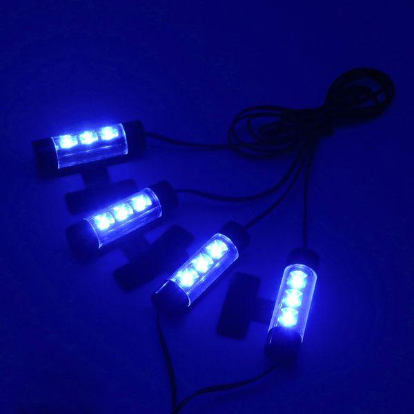 4 adet Evrensel 3 LED Araç İç Atmosfer Işık Kiti Ayak Lambası Şerit Duman Çakmak tarafından Şarj