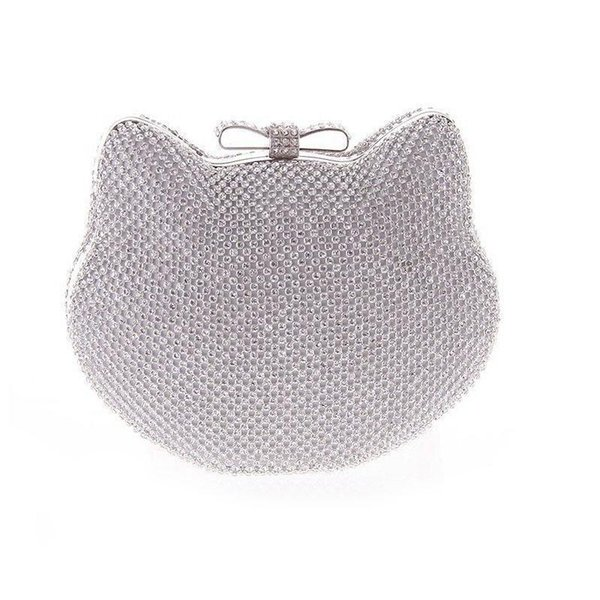 Nice- Crystal Evening Purse Purses Cute Cat Kitty Silver Gold Rhinestones Clutches Wedding Party Clutch Small Bags For Girls Xa858a