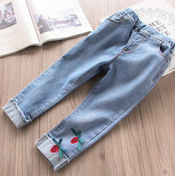 Kids jeans girls strawberry embroidered double pocket skinny denim trouser children ribbon Bows applique casual cowboy pants F6791