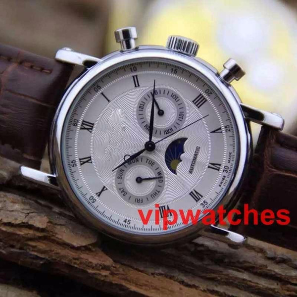 New Arrivals Gold Automatic Mechanical Watch Brown Leather Strap Mens Business Moon Phases Dress Casual Watches Reloj Wristwatches