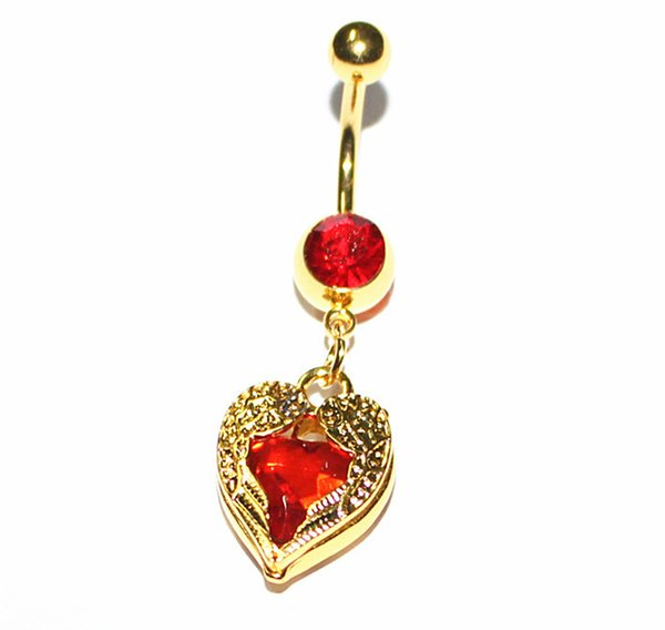 Ruby navel nail / Heart Belly Ring / nightclub sexy navel Navel Ring Stainless steel nail JE0353
