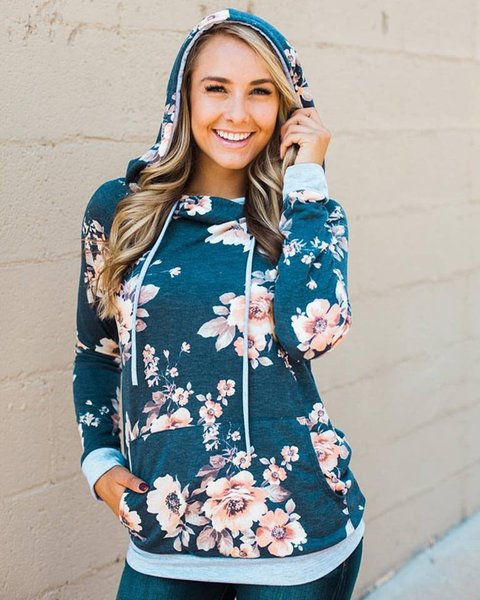 Hot Sale 2019 Women Fashion Long Sleeve Sweatshirts Female Autumn Cotton Hoodies Casual Floral Print Hooded Pullover