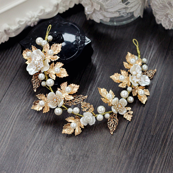 Bridal Wedding Bride Rhinestone Pearl Flower Leaf Tiaras Headpiece Hair Accessories Headbands Prom Birthday Gift Handmade Jewelry Gold