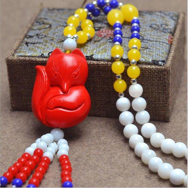 Doğal beyaz boncuk kolye Moda cinnabar kolye kazak zinciri ile Beyaz kabuk takı taş takı