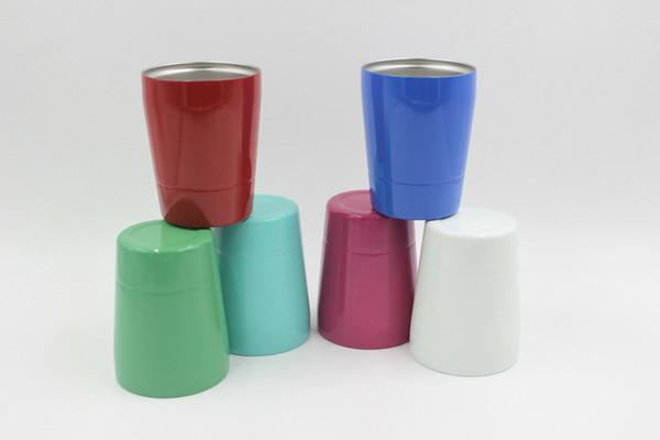 9oz Becher aus rostfreiem Stahl Isolierte doppelwandige Mini-Weinschale in verschiedenen Farben mit Deckelstrohhalmen für Kinder