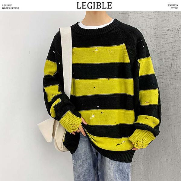 LEGIBLE 2019 Новый осенний хип-хоп полосатый лоскутный свитер мужчин свободного покроя свободные мужские свитера с круглым вырезом вязание пуловеры мужчин