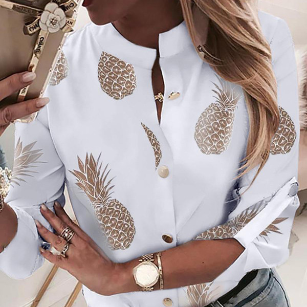 top popular Pineapple Blouse Women's Shirt Ananas White Long Sleeve Blouses Woman 2019 Womens Tops and Blouse Elegant Top Female Autumn New 2021