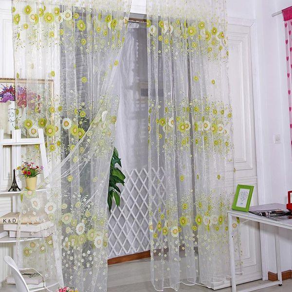 Sunflower Voile Tür-Fenster-Screening Vorhänge Sheer Drape-Panel Scarfs Valances Hot TQ