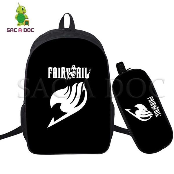Anime Fairy Tail 2 Unids / set Mochila Diaria Mochilas escolares para Niñas Adolescentes Niños Natsu HAPPY Mochila Portátil Bolsas de Viaje