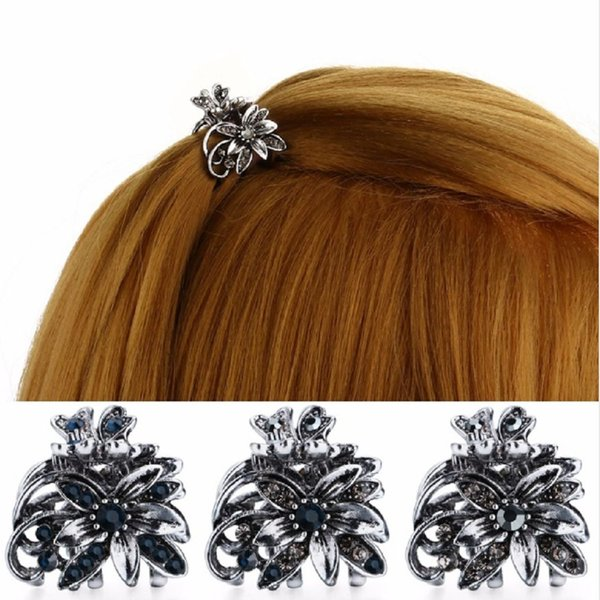 1pc Ancient Silver Color Hair Claw Clips Small Flower Hair Vintage Clip Mini Metal Hairpin Accessory for Women
