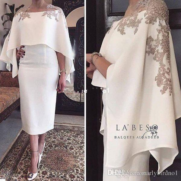 2019 New White Satin Cocktailkleider Mit Wickelapplikationen Tee Länge Mantel Dubai Stil Formelle Anlässe Party Kleid Nach Maß