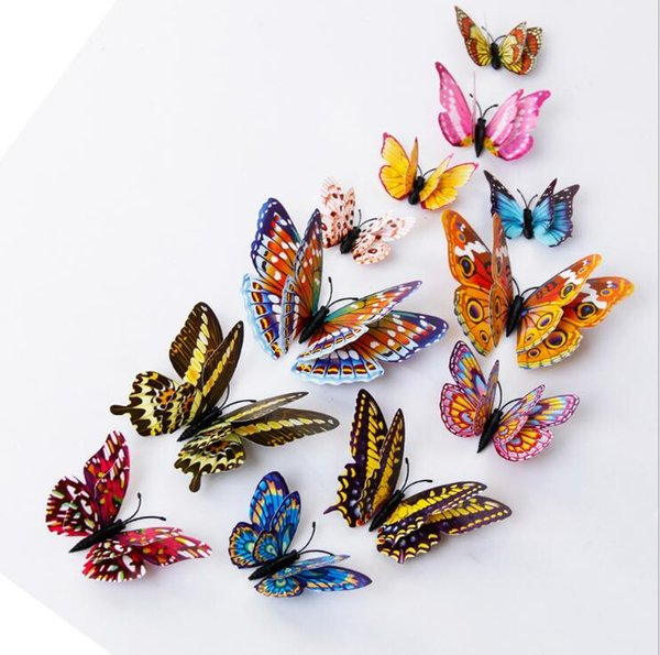 Double Layer Butterfly Luminous Fridge Magnets 12PCS 3D Butterfly Design Decal Art Stickers Room Magnetic Home Decor DIY Wall Decoration