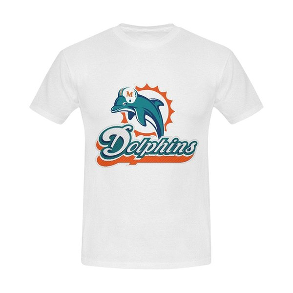 Burrows Custom Dolphins Miami Men'S Cotton Slim Fit T Shirt White New Brand Clothing T Shirts Top Tee Cool Summer Tees