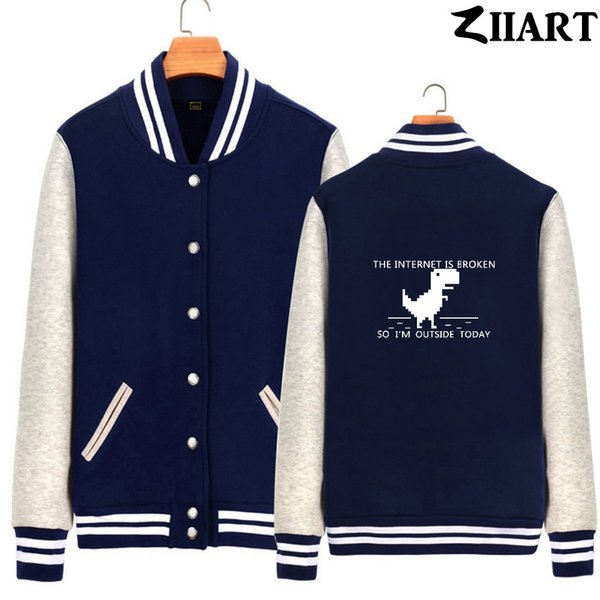 404 geek the internet is broken so i'm outside today girls woman full zip autumn winter fleece baseball jackets ziiart