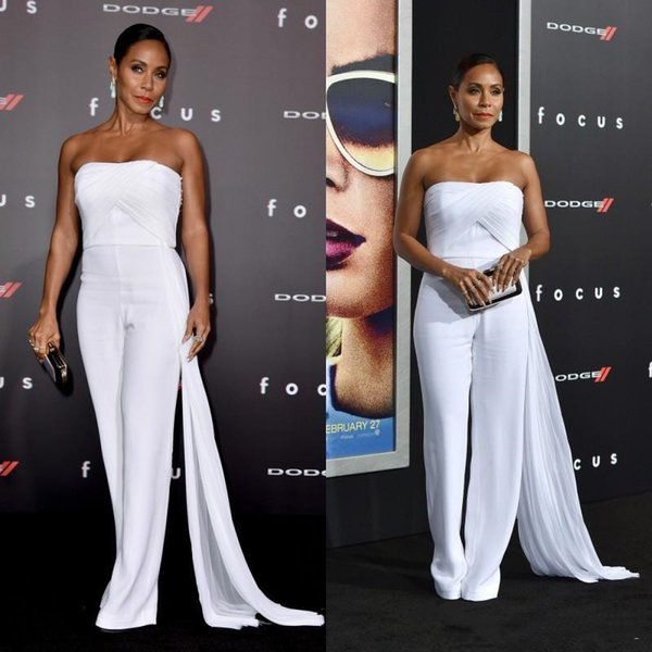 Elegant Women White Jumpsuits Prom Dresses New 2019 Strapless Pleats With Ribbon Red Carpet Celebrity Dress Cheap Formal Evening Gowns