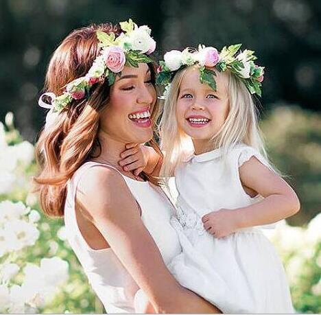 Baby Mother Floals Headband Kids Flower Crown Photography Props Hair Band Simulation Floals Garland Head Band Hair Accessory 14676
