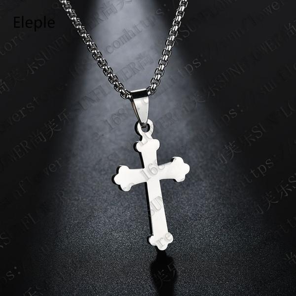 Eleple Religiosa Cruz Cristã Simples Colares para Mulheres Dos Homens de Aço Inoxidável Colar de Jóias Fábrica Dropshipping S-N437