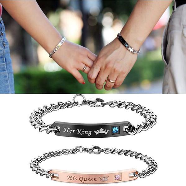 Lettre bracelet en diamants Sa Reine Son Roi Son Beauté Couple Bracelets Coeur Couronne Charme Bracelet Bijoux De Mode Cadeau CNY1027