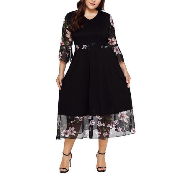 Hot Sale Casual 2019 Fashion Women Midi Dresses O Neck Wrap Chiffon Floral Long Sleeve Dresses Vestido Plus Size XL-5XL