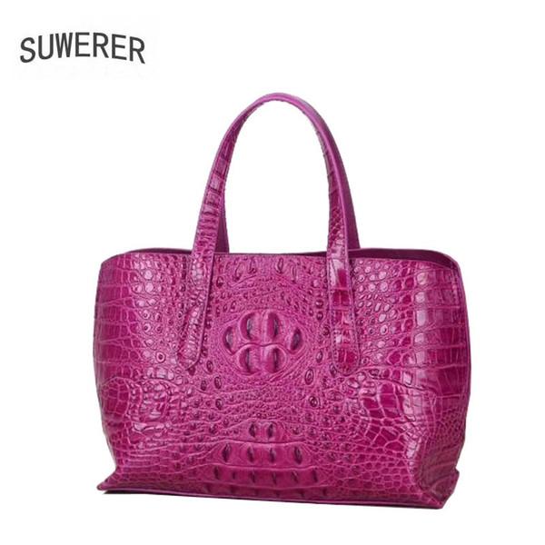 SUWERER 2019 New Women Genuine Leather bags Fashion luxury Crocodile pattern handbags tote designer women leather shoulder bag #151385