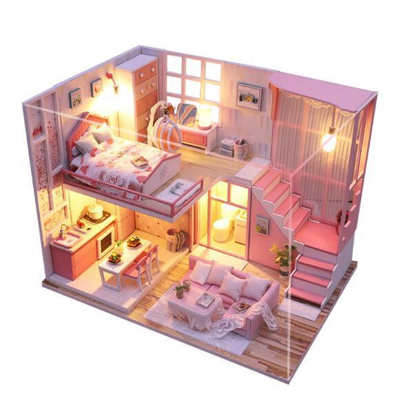Diy casa de bonecas sala bonito montar miniaturas de madeira casa de bonecas móveis em miniatura casa de bonecas brinquedos educativos para crianças