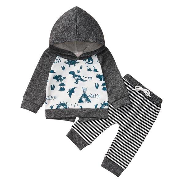 üstleri yürümeye başlayan çocuk giysileri için 2adet erkek bebek kız kıyafeti seti uzun kollu pamuklu sevimli nedensel kapüşonlu sweatshirt + çizgili pantolon