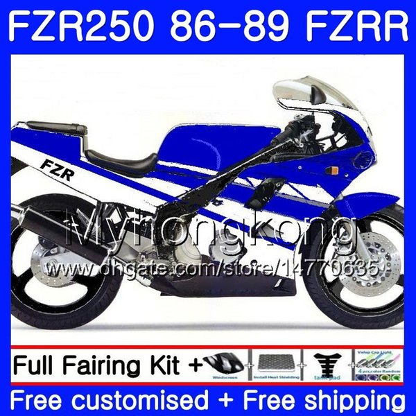 Body For YAMAHA cowling blue hot FZRR FZR 250 FZR250 1986 1987 1988 1989 249HM.25 FZR250RR FZR-250 FZR 250R FZR250R 86 87 88 89 Fairing kit