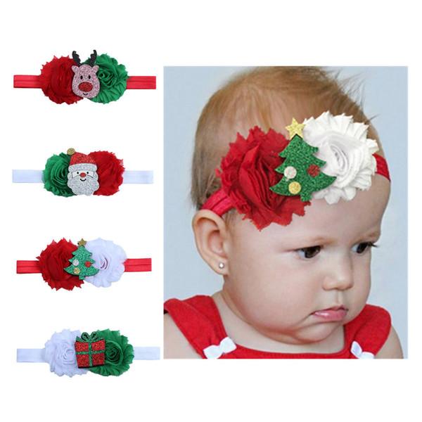 200 pçs / lote Baby Girl Hairbands Grampo de Cabelo Flor Acessórios de Natal Princesa Verde Vermelho Recém-nascidos Headband X'MAS Santa Crianças Faixas de Cabelo