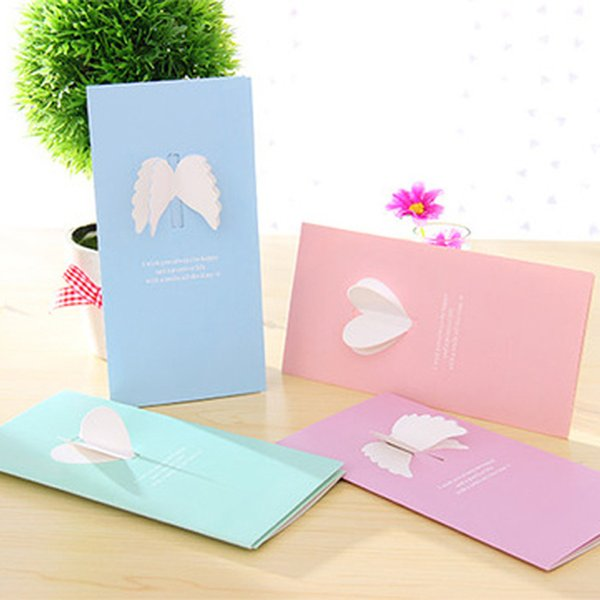 (40 Piece/lot) 3d Heart Angel Wings Paper Greeting Card Birthday Invitations Back To School Stationary Gift With Envelope Pc01 T8190617