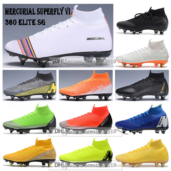 Mens High Ankle Football Boots Superfly 6 Elite SG Soccer Shoes CR7 Mercurial Superfly VI 360 Neymar ACC Soccer Cleats
