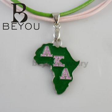 """make AKA Sorority With 18\"""" Pink Green Leather cat lucky necklace make"""