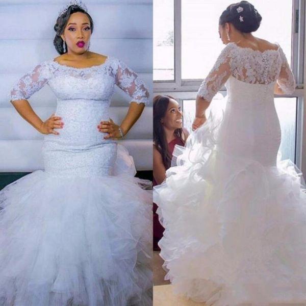 Tallas grandes Vestidos de novia de sirena Medias mangas Apliques de encaje Vestidos de novia Faldas escalonadas Tren de barrido de tul 2019 Vestidos de boda