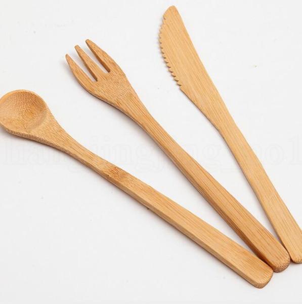 Juego de cubiertos respetuoso del medio ambiente Cuchillo de mesa de bambú Cuchara tenedor 3pcs 1set Juego de vajilla de cena Juego de vajilla japonés KKA6467