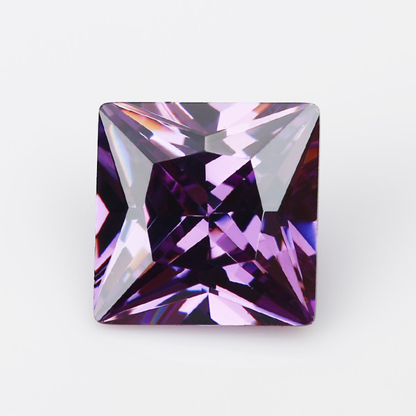 1.5x1.5~15x15mm 5A Grade Amethyst Color Square Shape Cubic Zirconia Stone Loose CZ Stone Princess Cut Synthetic Gems