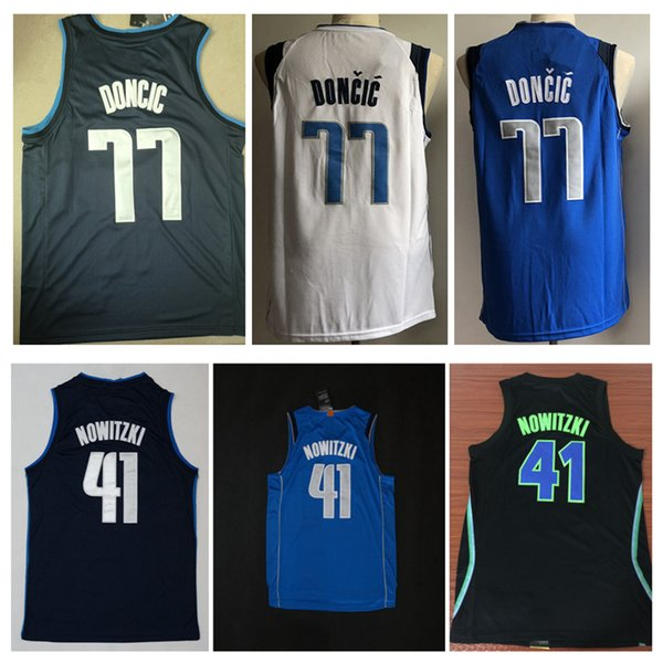 quality design d1d99 ea634 2019 2018 New Top Quality For 41# Dirk Nowitzki Mens Home Away Jersey  Nowitzki 77# Luka Doncic Basketball Jerseys White Blue Shirts From Leide1,  ...