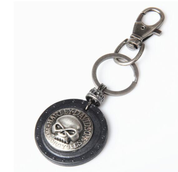 Hip Hop Punk Skull Leather Keychain Keyring Key Chains for Men Cowboy Rider Punk Rock Motorcycle Keychain Key Holder