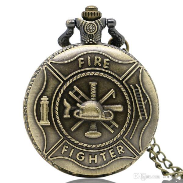 Full Hunter Copper Fire Fighter Theme 3D Pocket Watch Men Women Bronze Pendant Fob Necklack Chain Cool Clock Birthday Gift for Boys Children