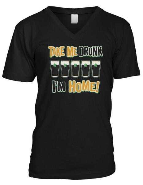 Prends-moi ivre je suis à la maison en train de boire de l'alcool gâché Drôle T-shirt à col en V pour hommesCool t-shirt xxxtentacion marcus et martinus