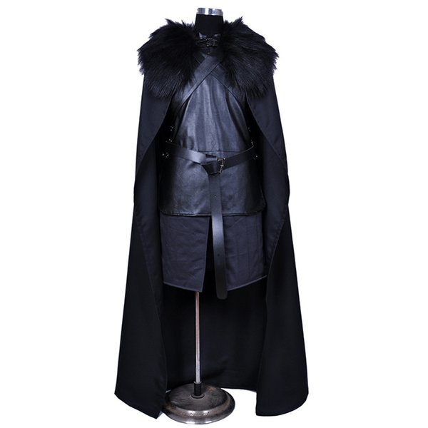 Game of Thrones Nights Watch Jon Snow Cosplay Costume Men Outfit Suit Vest Skirt Cloak Belt Halloween Costumes plus size xxs-xxxl