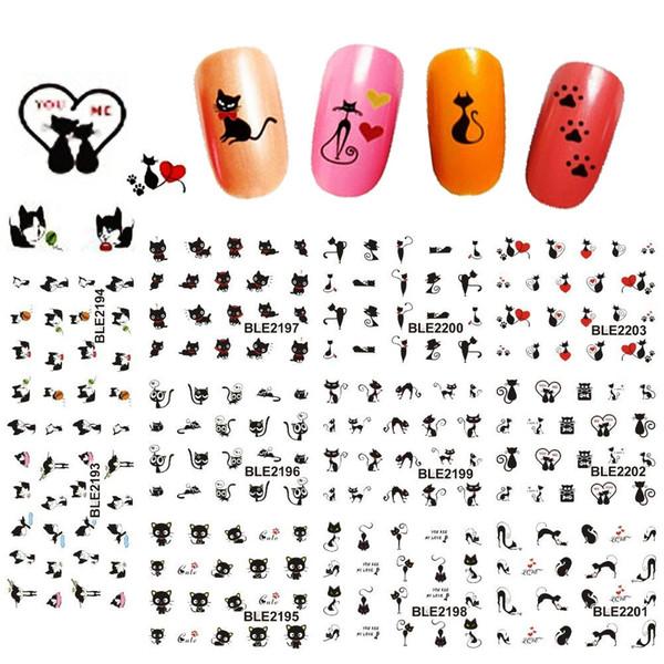 5sheets Sexy Black Cute Cat Nail Art Wassertransfer Aufkleber Decals DIY Beauty Aufkleber Nail Dekoration Tools 11 Designs in 1 Stück