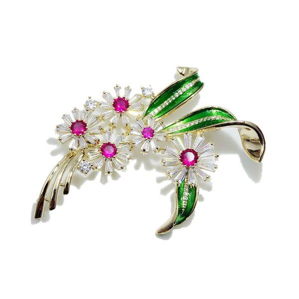 New Elegant Flower Brooch Pins Romantic Zircon Enamel Brooches Women Girls Jewelry Wedding Bride Clothes Corsage