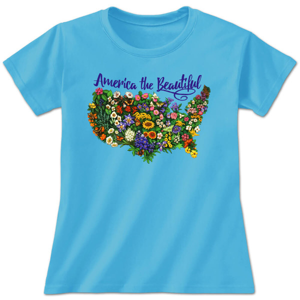 America The Beautiful Ladies T-Shirt Official State Wild Flowers United States Men Women Unisex Fashion tshirt Free Shipping black