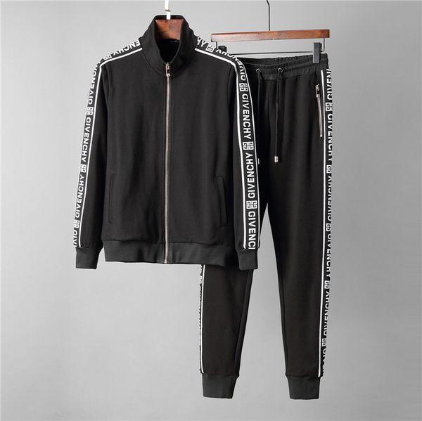 valentino0 / Бренд дизайнеры мужская спортивная одежда костюм толстовка спортивный костюм новые мужчины повседневная активная молния верхняя одежда куртка + брюки наборы