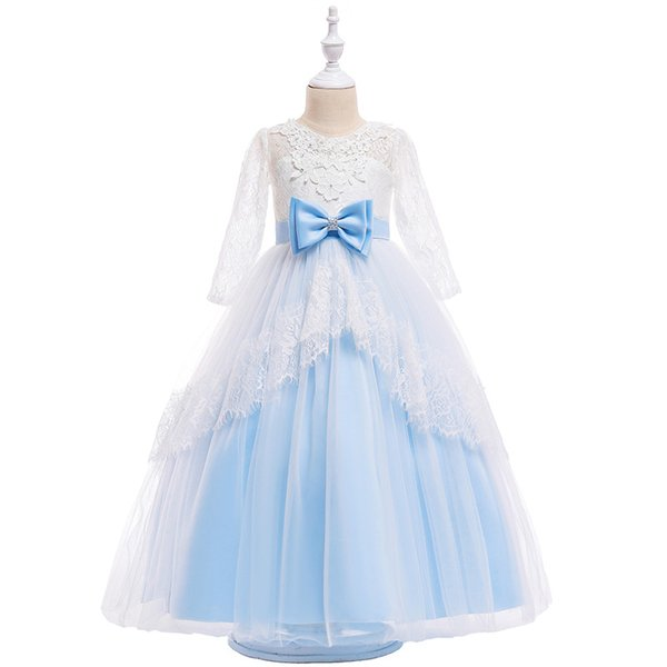 Cheap Sky Blue Ball Gown Flower Girls Dresses Ruffled Tulle Lace Appliqued Tutu Dress Girls Birthday Pageant Gowns MC1668