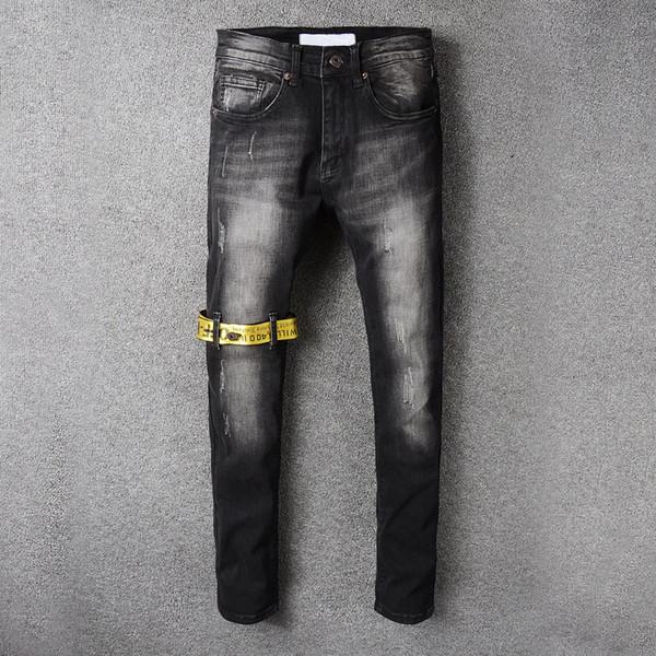 Estilo americano OFF Jeans Masculina Marca Magro Skinny Calça Jeans Masculina Tamanho Grande Algodão Qualidade Moda New WHITE Jeans Lápis Calças