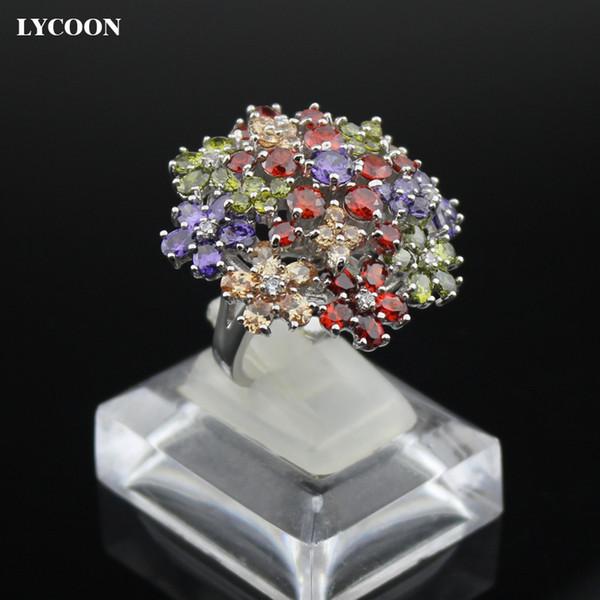 Nuovo arrivo anelli di platino di lusso per le donne anelli di cristallo regolazione del polo bianco Cubic Zirconia albero anello stile famale anello mix CZ pietra